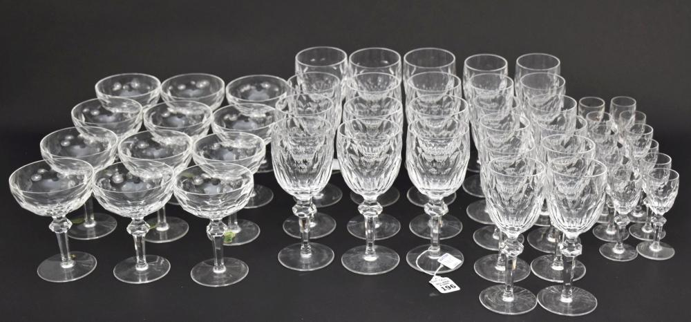 """48 Waterford Crystal Glasses, Curraghmore Pattern, 7 1/2""""h tallest"""