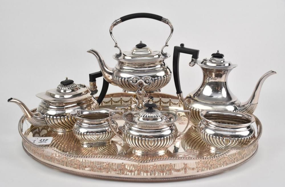 """Vintage 6 pc. Coffee/Tea Set, all Matching Sheffield Plate Sold With Oval Etched Tray (non-matching), dimensions: tray 24"""" l, coffee pot 8 1/2"""" h, teapot 5 1/2"""" h"""