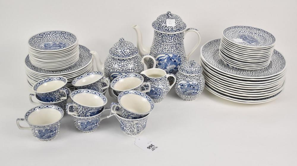 """66 PCs Adams China service """"Chinese Bird"""", Blue On White. - 12 dinner plates, 13 salad plates, 13 bread plates, 11 tea cups, 13 saucers, coffee pot, tea pot, covered sugar bowl and creamer."""