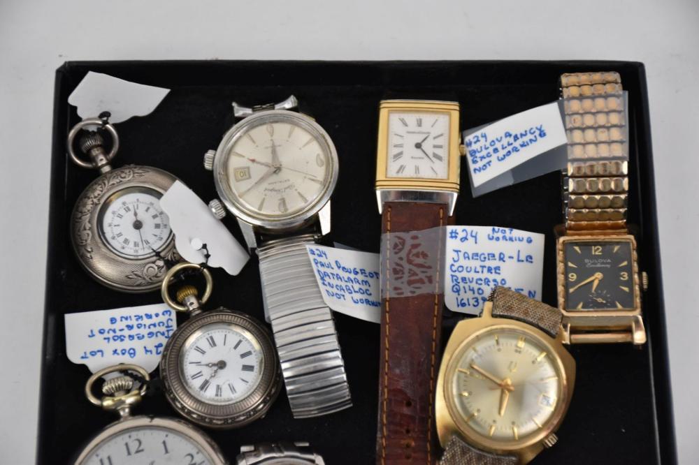 Box Lot 10 Vintage Watches, incl; Jaeger-Le Coultre, Paul Peugeot, Le Coultre Automatic, Tarleton Automatic, Bulova Excellence, Bulova Accutron, Ingersoll * Elite Open Face