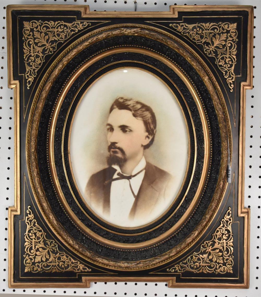 Large Victorian Black & Gilt Wood Frame with Oval Portrait-