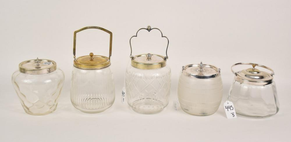 Five Antique Silverplate & Glass Biscuit Jars -