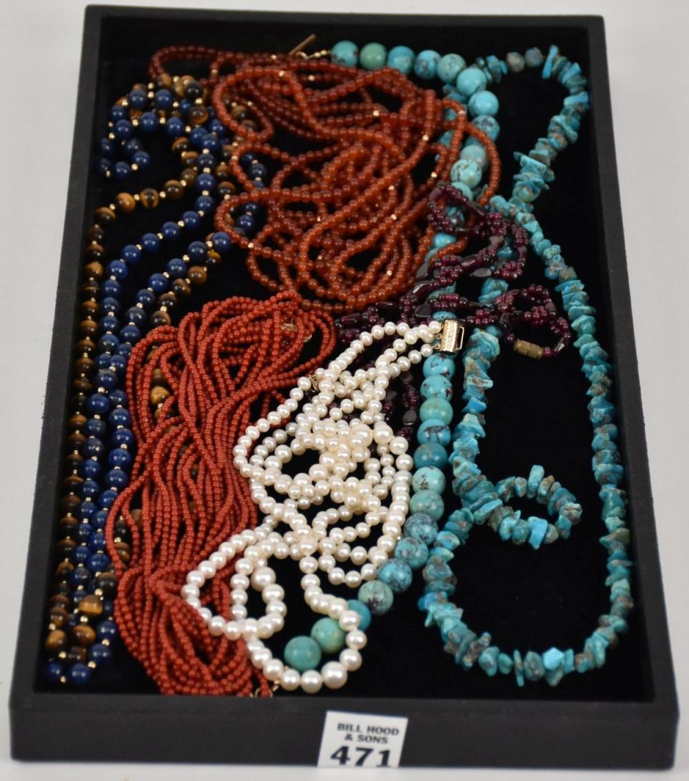8 Beaded Necklaces, Pearls with 14kt Gold Clasp & Coral with 14kt Gold Clasp, Turquoise, Amethyst, Tiger Eye, Lapis, Etc.