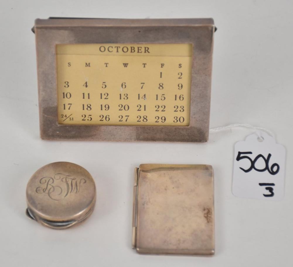Tiffany & Co Sterling Silver Photo Frame, Calendar & Pill Box - Group of Tiffany & Co vintage Sterling includes: