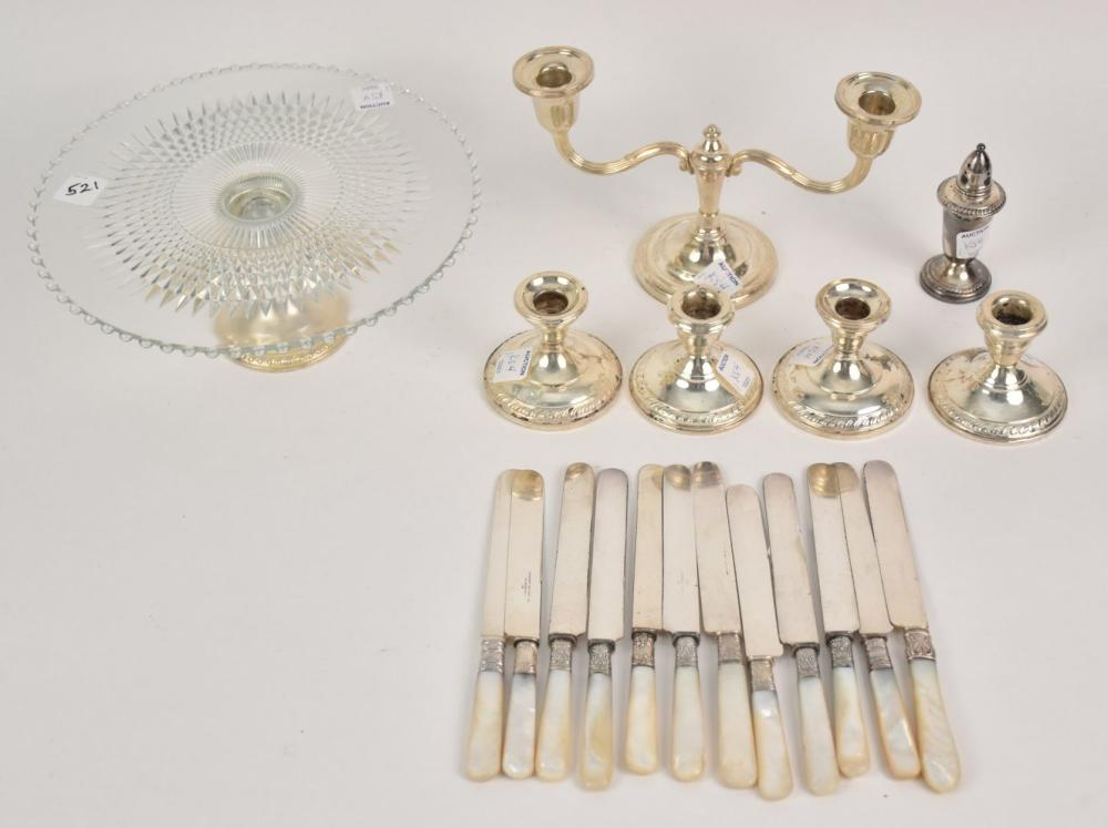 Sterling Weighted Pieces, 4 Candlesticks, Candelabra, Salt Shaker, Cake Stand and 12 Mother of Pearl Knives