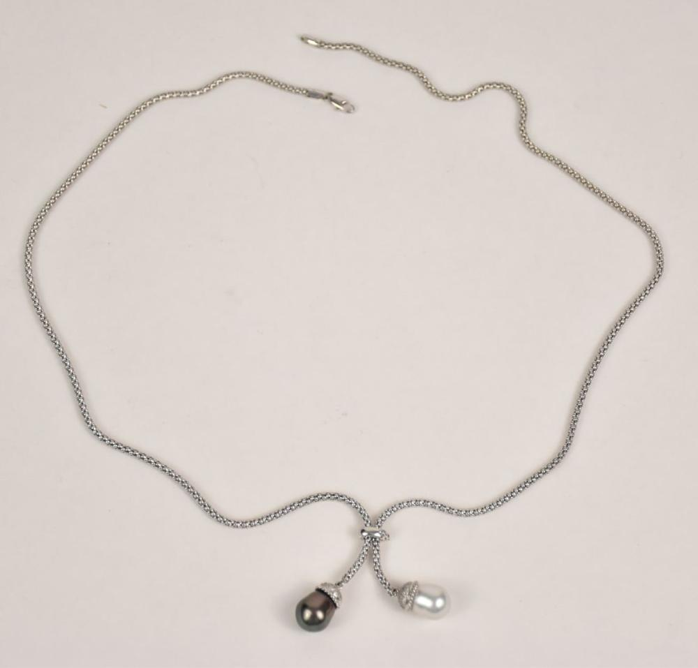 """18K White Gold Chain With Diamonds, White & Tahiti Pearls. Total weight 19.5 grams. 29 1/2"""" long."""