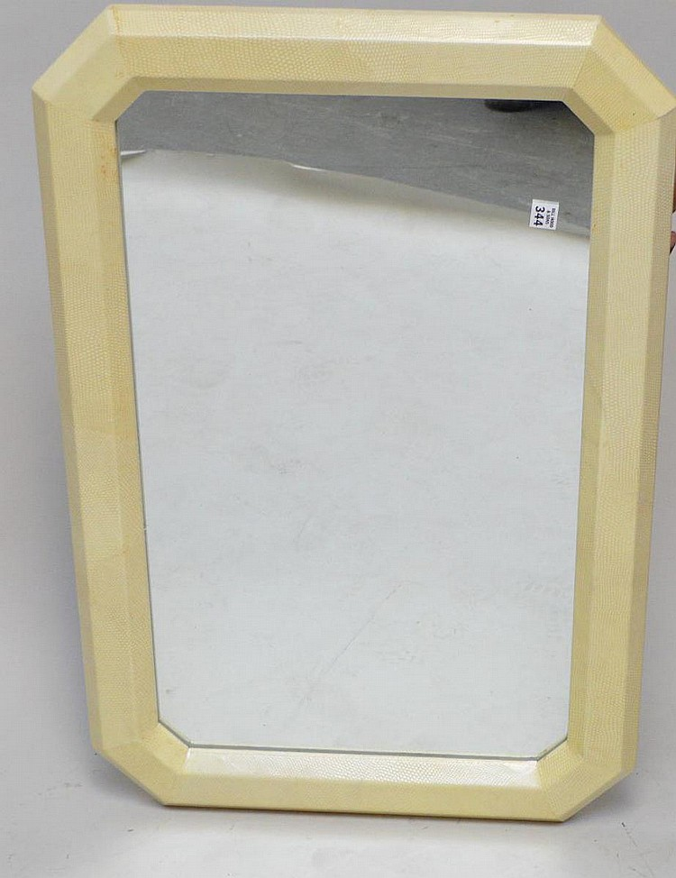 White snakeskin Mirror, Possibly Karl Springer, overall good condition, 24 x 36 inches