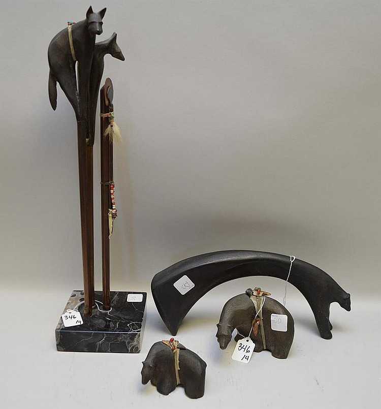Four Modern Mixed Media Bronze Sculptures by McLean - Two bears with added leather, metal & beads - Larger bear dated 1987 4 1/4