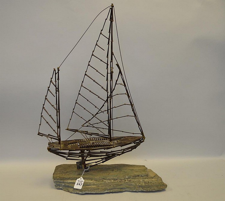 Modern Welded Metal Ship Sculpture on Slate Base - piece near based has the initials