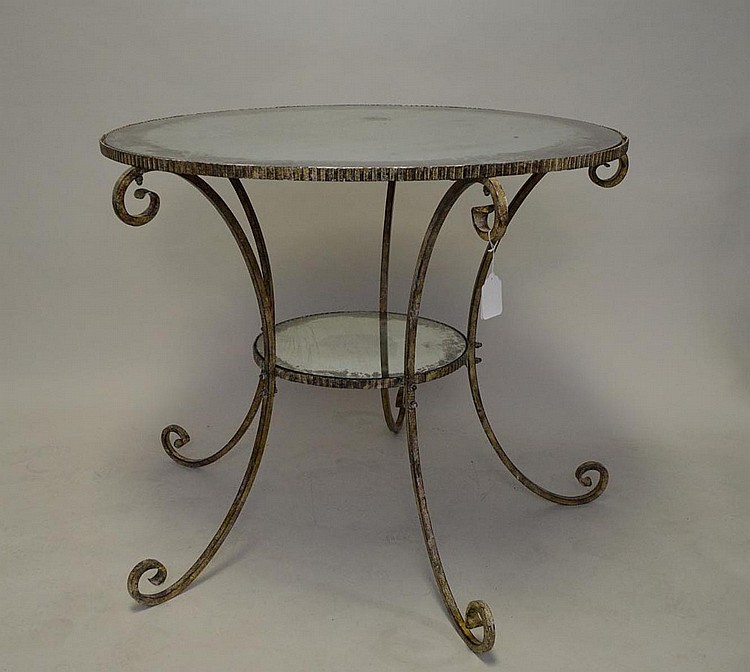 Iron and glass table with silvered finish, crimped edge on 5