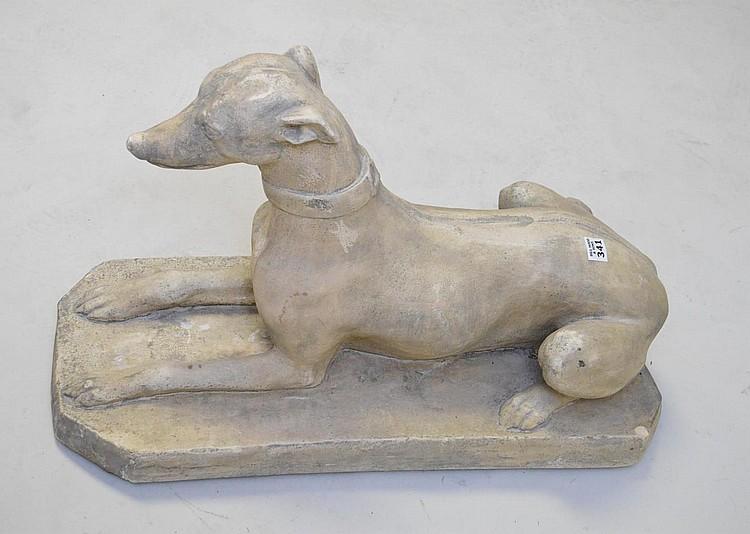 Plaster reclining decorative Greyhound, 17