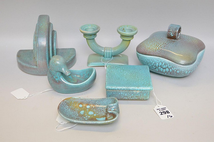 Six Retro Turquoise Oil Spot German Pottery Articles - Includes: a small square box with lid 3 3/4