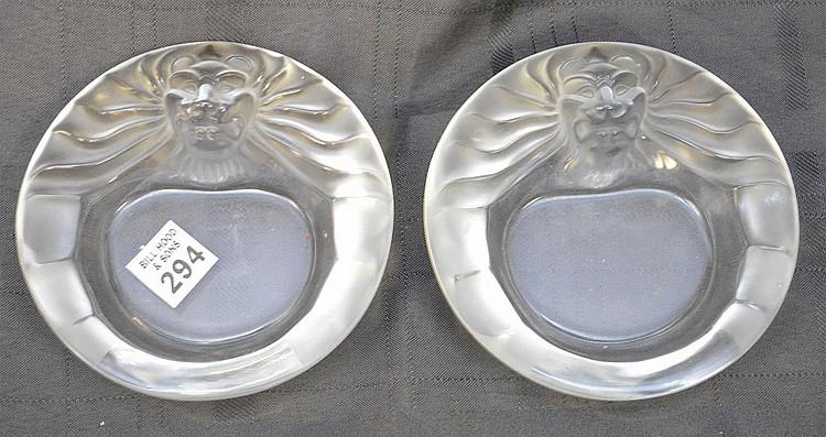 Pair Lalique ashtrays, Tete De Lion, 1 1/4