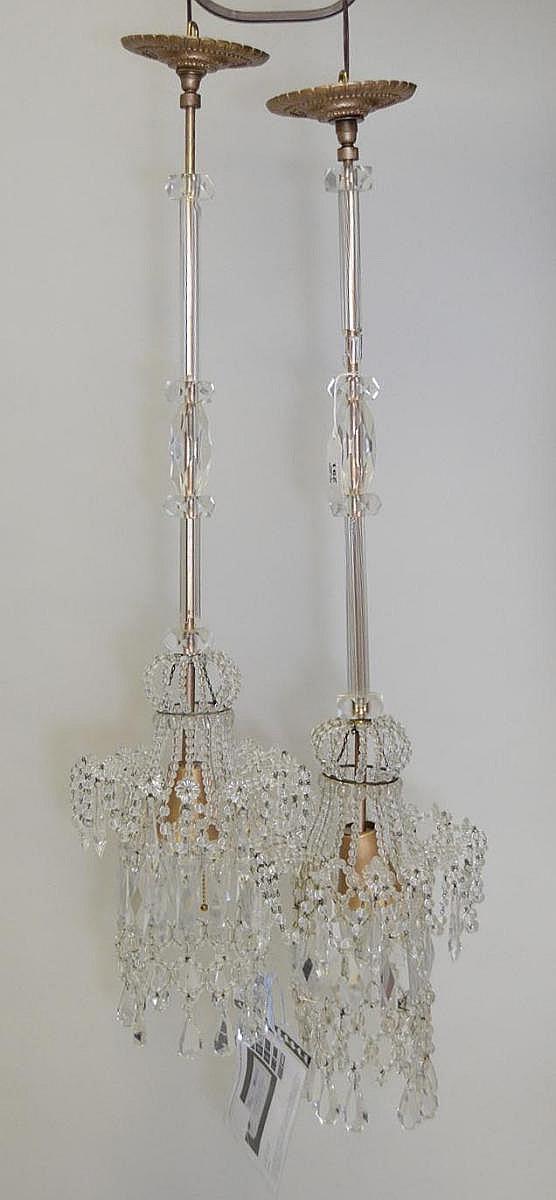 Pair Morris Lapidus designed chandeliers