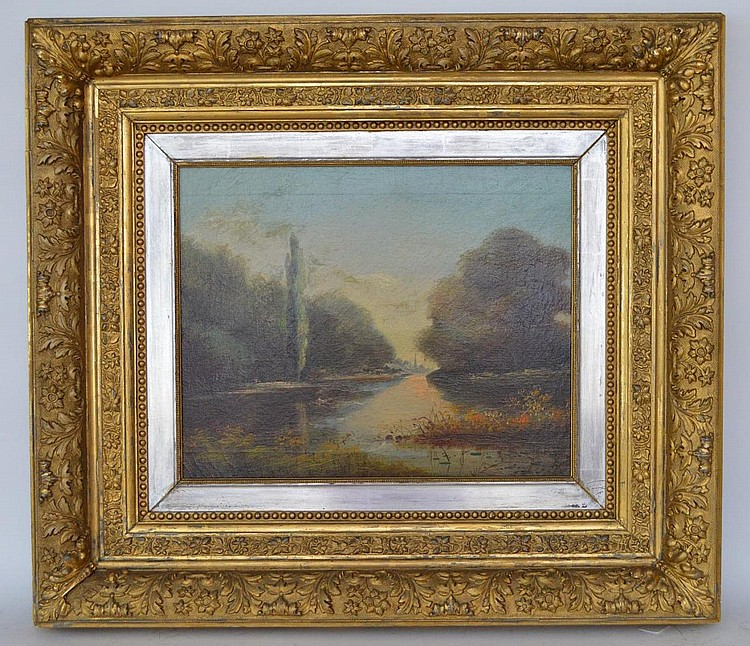 19th Century Landscape tree's / waterway, oil on canvas, in a carved goltwood frame, canvas is 16 x 24 inches