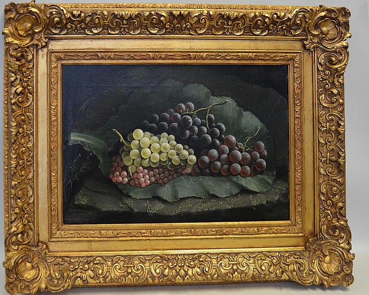 19th Century signed illegibly lower left, oil on canvas Grapes, canvas is 12 x 16 inches