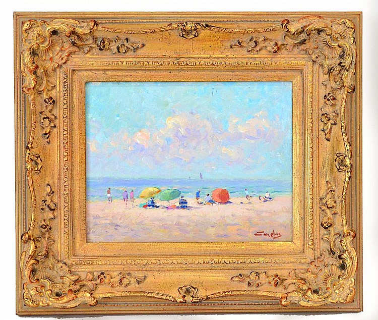 Niek van der Plas (Dutch, b. 1954) Beach Scene, oil on wood panel, signed lower right and signed en verso. 7 x 9 inches Framed.