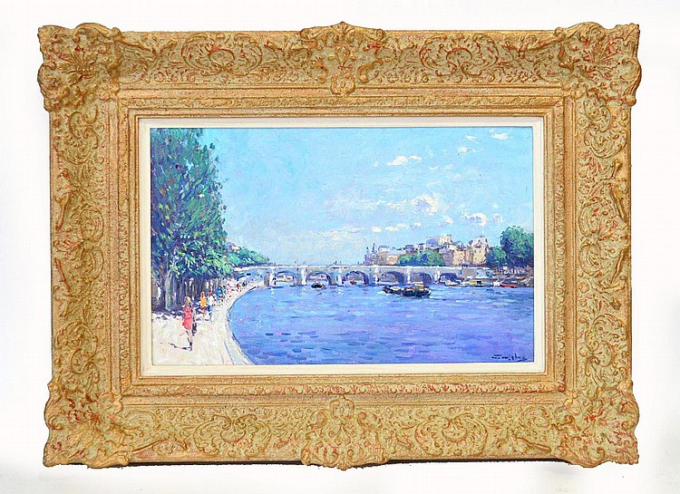 Niek van der Plas (Dutch, b. 1954) Seine River Paris, oil on wood panel, signed lower right and signed en verso. 9-1/2 x 15-1/2 inches Framed.