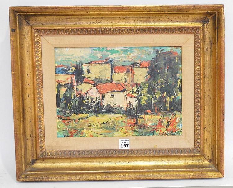 Bertoldo (Berto) Taubert (France 1915 - 1974) Village, signed and titled on verso, 1966, canvas size 9-1/2 x 13 inches
