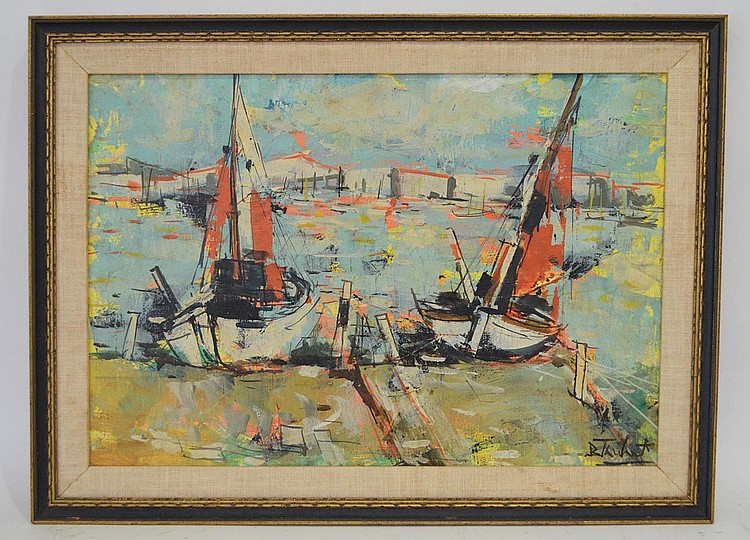 Bertoldo (Berto) Taubert (France 1915 - 1974) Sail Boats, signed and titled on verso, 1966, canvas size 15-1/2 x 22 inches