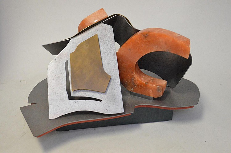 Selma Frankel Abstract Metal and Stone Sculpture, 27 x 22-1/4 x 14 tall (inches)
