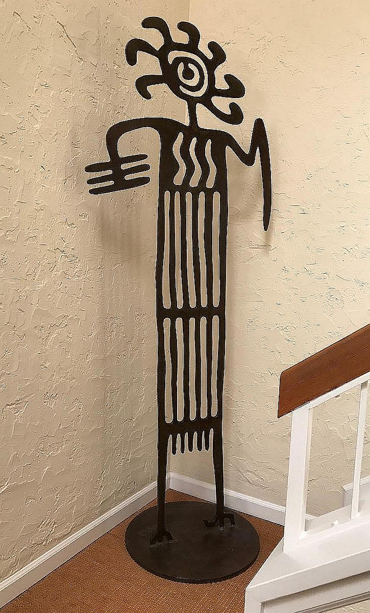 Doug Weigel (lives in New Mexico, born 1960) FATAL ATTRACTION, 7 feet tall, Iron sculpture w/ brown patina, Original gallery invoice from '93