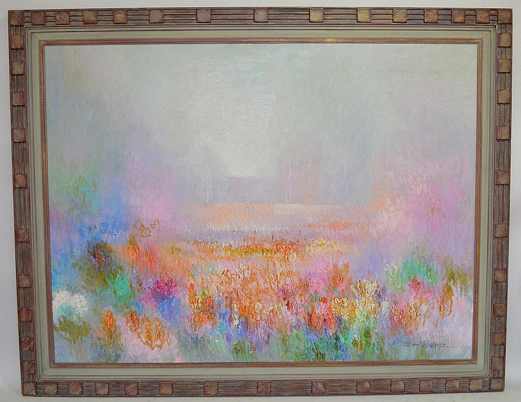 Don Mingolla (American, 20th century) oil on canvas Painting, Field of flowers in pastel colors, 30 x 40 inches