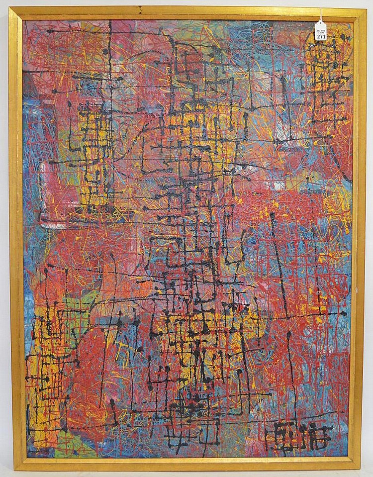 Latin American School signed illegibly and dated 1960, Abstract in the manner of Jackson Pollock, 30 x 40 inches