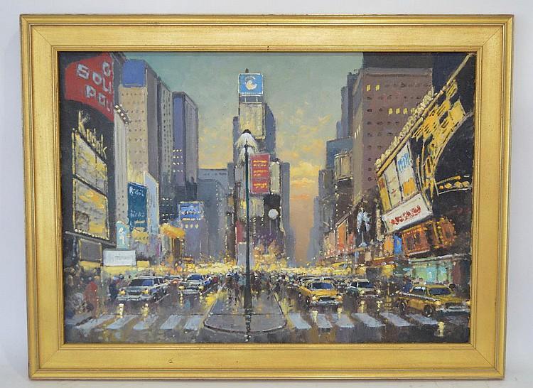 Willem Heytman (Dutch, b. 1950) oil on canvas, City Scene, 19-1/2 x 27-1/2 inches