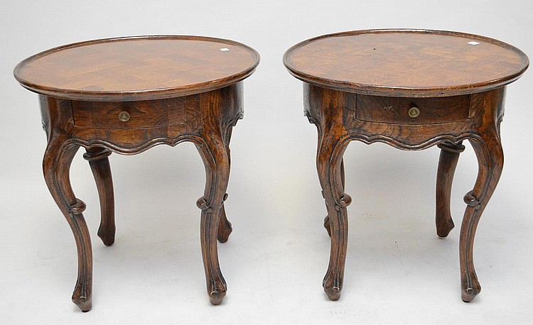 "PAIR OF ITALIAN LAMP TABLES, solid wood, app 26"" h x 26""w"