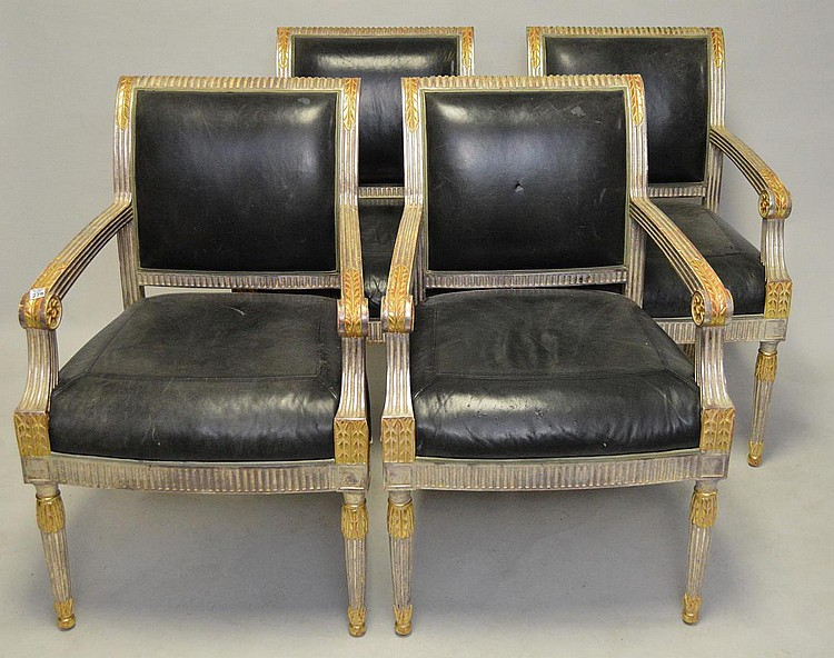 Four (4) J. Robert Scott Arm Chairs, silvered wood with gilt accents, black leather seats, tapestry on back label reads J. Robert Scott and Associates Inc. Clover City California (some wear to leather seats)