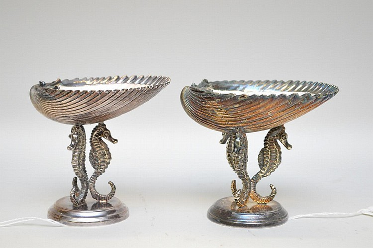 Pair of .800 Silver-Clad Sea Shells standing on Sea Horse Supports - Marked with an oval cartouche with a star & 970 Roma mark, a 800 mark, as well as a
