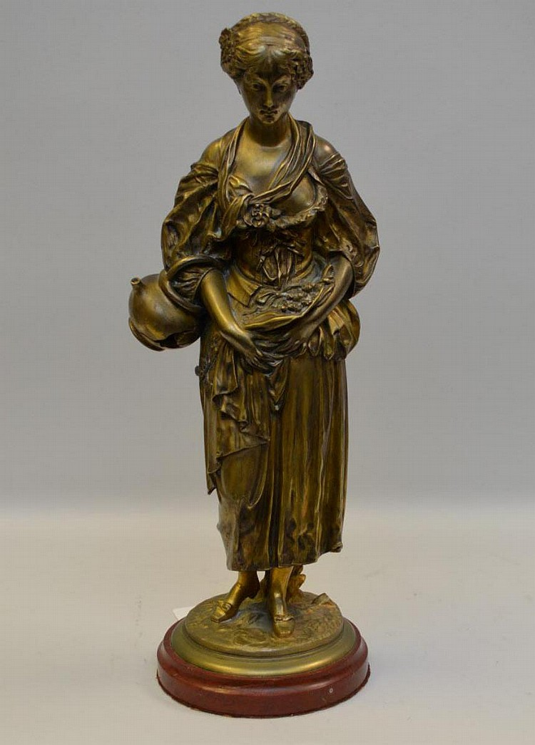 French Bronze Louis Kley (1833 - 1911) Sculpture of Maiden, in the manner of Greuze - Signed