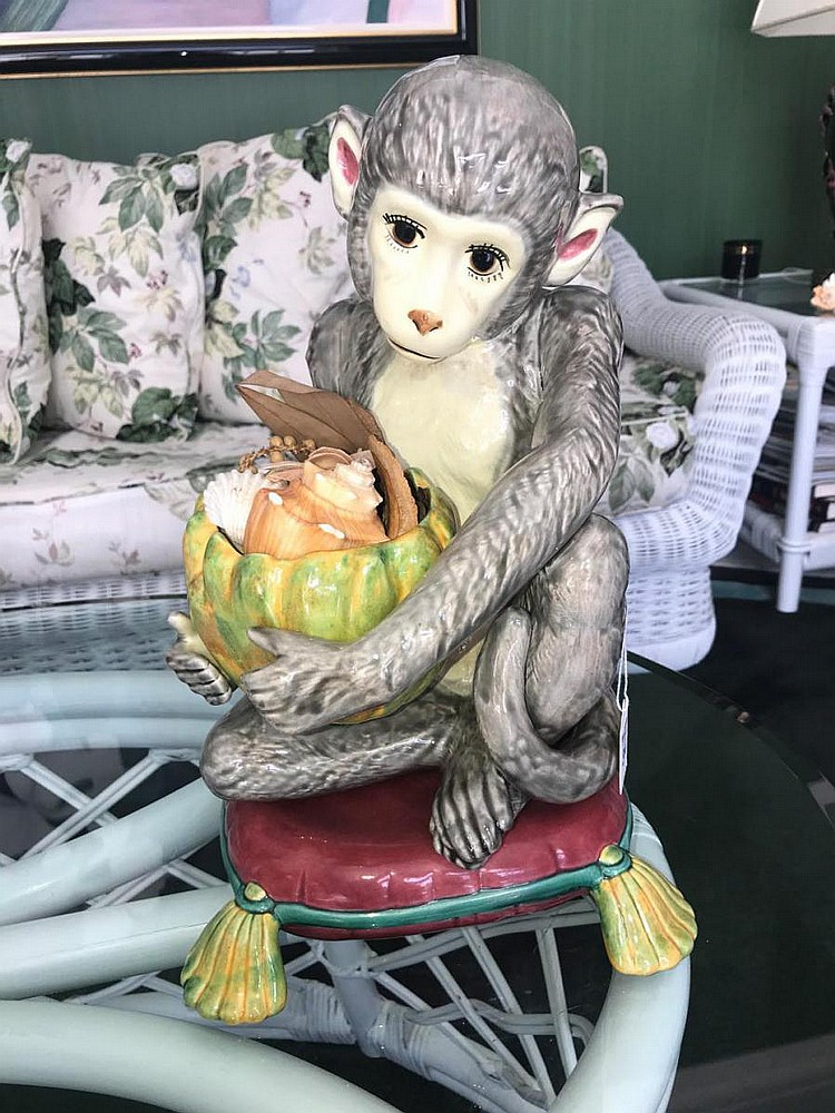 "Hand-Painted Italian Pottery Monkey - Grey monkey sitting on pillow. Condition: Good, with no noticeable damage. Dimensions: 15"" H"