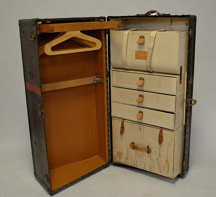 Vintage Louis Vuitton wardrobe, fitted drawer and valise interior, initials and New York in red, appropriately worn for its age, 17