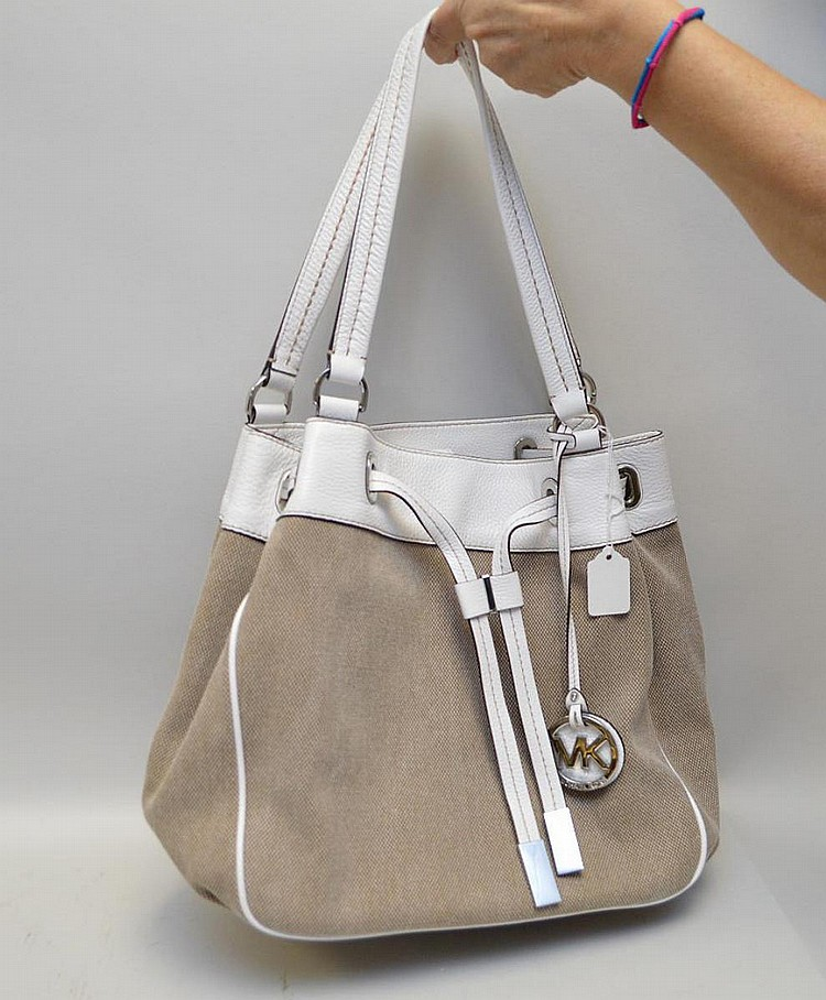 Michael Kors shoulder bag, beige canvas with white leather trim, snap closure, 12