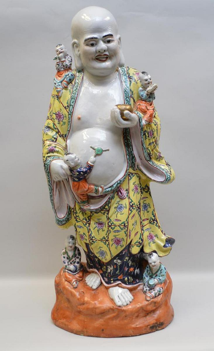 Early Chinese Porcelain Figural Group depicting a man and children. Condition: good for it's age with two small kiln cracks and a few small chips to the base. Ht. 27 1/8