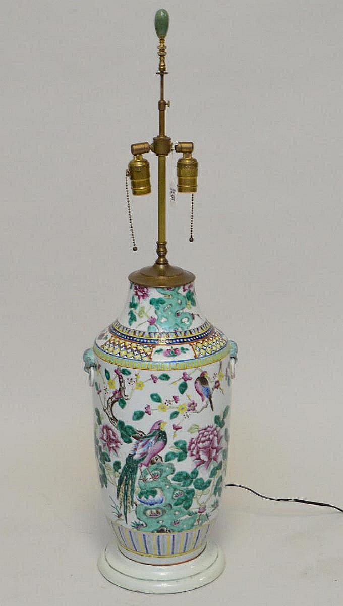 Antique Chinese Porcelain Vase now electrified and mounted as a lamp. Condition: good and working with no cracks or chips. Ht. 26 1/2