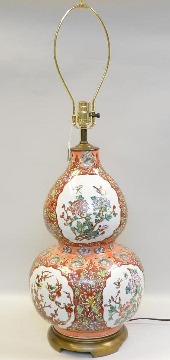 Chinese Porcelain Gourd Form Lamp. Condition: good and working with no cracks or lamps. Ht. 25