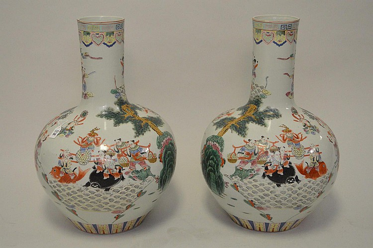 Pair Large Chinese Porcelain Vases with continuous landscape scene on a white ground. Condition: good with no cracks or chips. Ht. 25 1/2