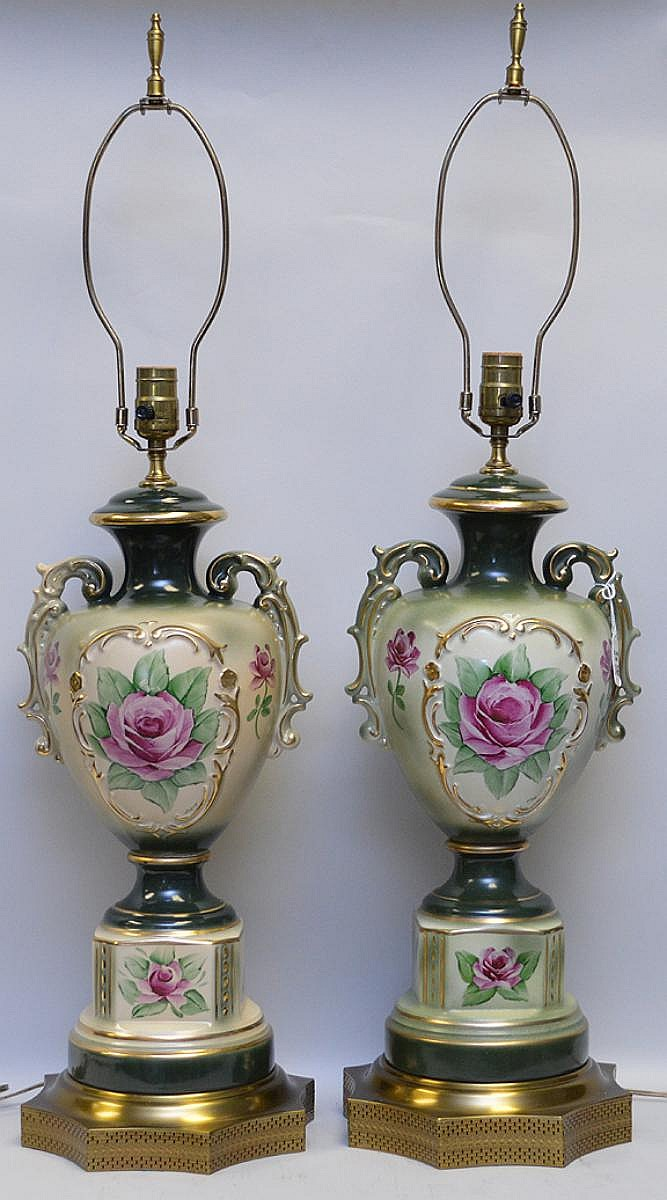 """Pair of Bavarian Porcelain Lamps, green and cream urn form vase with floral decoration. Condition: Good, with no noticeable damage. Dimensions: 24"""" H to the socket, overall 35"""" H."""