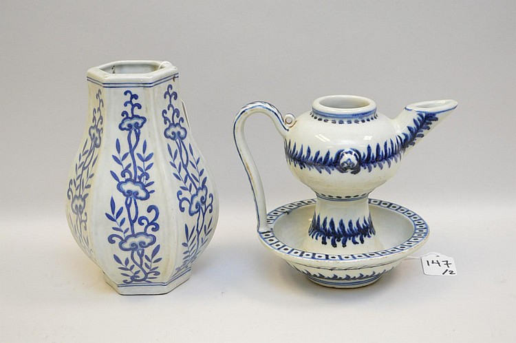Two Chinese Blue & White Porcelain Vessels - Blue under glaze on white ground tea pot and 6-sided vase. Both pieces have six character marks in blue under glaze. Condition: Good, with no cracks, chips, or repairs. Some bottom wear to both pieces