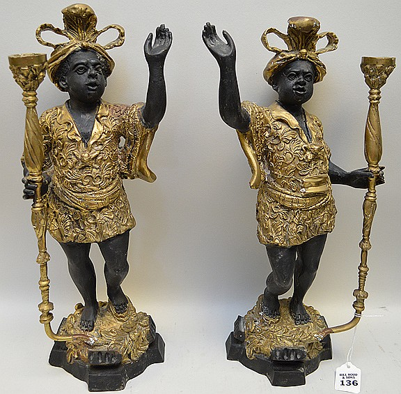 Pair of Patinated & Gilt Bronze Blackamoor Candle Holders Condition: Good with no noticeable damage. Dimensions: 16