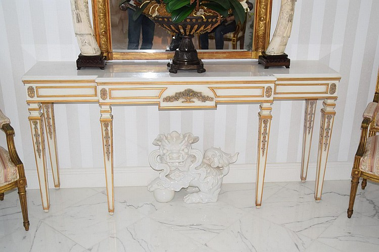 "Italian Carved & Gilded Console with White Marble Top - Condition: Good. Dimensions: 36"" H x 72"" W x 18"" D."