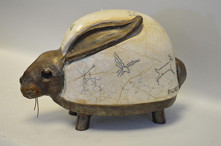 Greek Modernist Marble & Steel Rabbit Sculpture. Condition: minor normal wear. Ht. 9 3/4