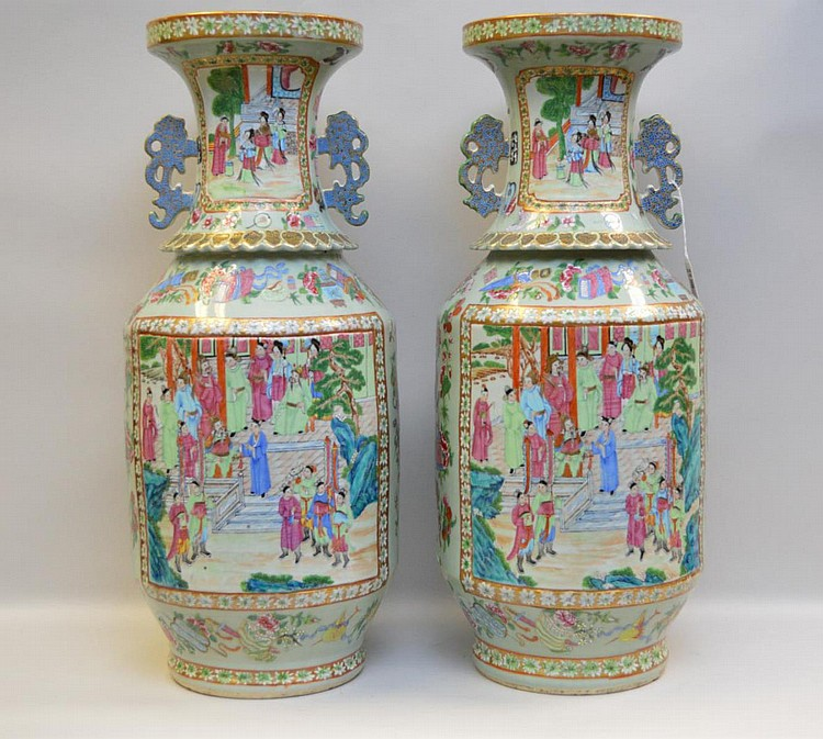Pair Antique Chinese Porcelain Vases with hand painted rose mandarin decoration on a celadon ground. Condition: good with very slight roughage to the bottoms. Ht. 24 1/4