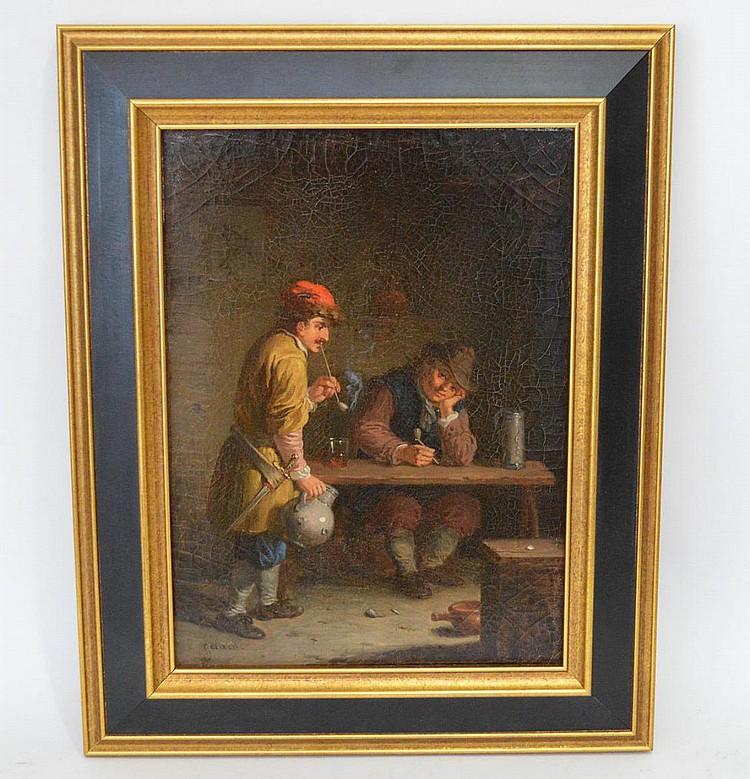 Theodore Gerard (BELGIAN, 1829–1895) oil on canvas, Interior Pub Scene, 9-1/2 x 12 inches