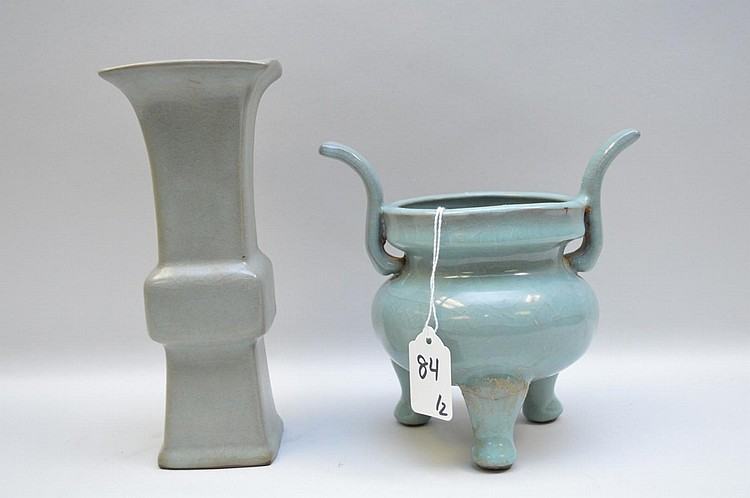 Two Early Chinese Celadon Glazed Pottery Vessels - Both pieces have celadon glaze with cracklature to the glaze, over a purplish-brown stoneware. One piece is a stylized squared vase with a grayish celadon glaze, the other is a three-footed and