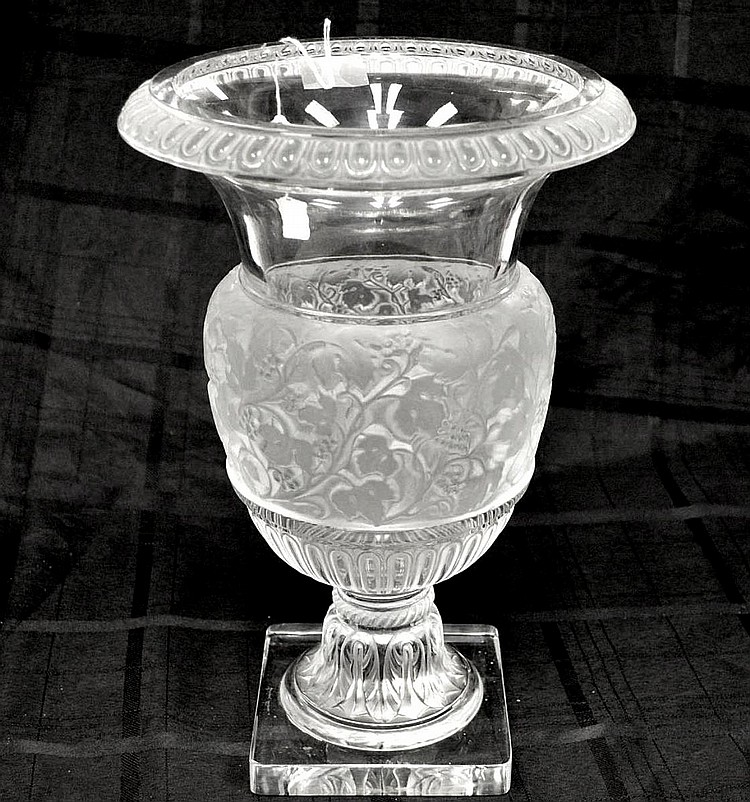 Lalique Crystal Versailles Vase. Condition: good with no noticeable damage. Signed Lalique France and also with original label. Ht. 13 3/4