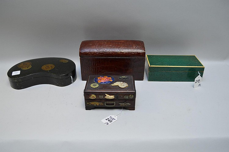 Four Antique Small Boxes - Including a miniature wood chest of drawers with added Asian accents 2 1/2